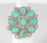 vintage sterling silver Turquoise Cluster ring size 8 1/4