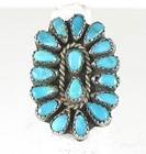 vintage sterling silver Turquoise Petit Point ring size 5