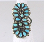 vintage sterling silver Turquoise Cluster ring size 6