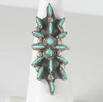 vintage sterling silver Turquoise Needle Point ring size 7 1/4