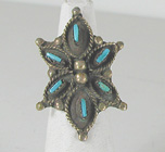 vintage sterling silver Turquoise Needle Point ring size 6