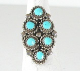 vintage sterling silver Turquoise cluster ring size 5 3/4