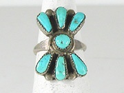 vintage sterling silver Turquoise Petit Point ring size 6 1/2