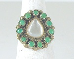 vintage sterling silver Turquoise and Mother of Pearl  Cluster ring size 6 3/4