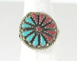 vintage sterling silver Turquoise and Coral Petit Point ring size 8