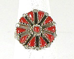 vintage sterling silver Coral Petit Point ring size 8 1/4