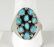 vintage sterling silver cluster turquoise ring size 14 1/4