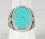 vintage sterling silver block turquoise eagle ring size 11 3/4
