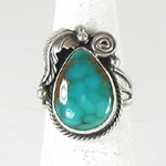 vintage sterling silver turquoise ring size 7 1/2 by Navajo artist Roie Jaque