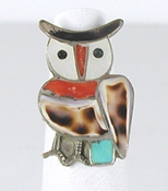 vintage sterling silver Inlay Owl ring size 7 1/2 by Zuni artists Velma & Blake Lesansee