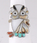 vintage sterling silver Inlay Owl ring size 7 by Zuni artist Snowa Esalion