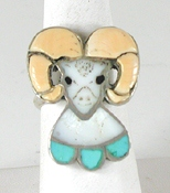 vintage sterling silver Inlay Ram ring size 9 3/4 by Zuni artist Joe Zunie