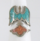 vintage sterling silver chip inlay Thunderbird ring size 7 1/4