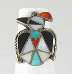 vintage sterling silver and stone inlay thunderbird ring size 7