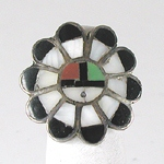 vintage sterling silver inlay Sunface ring size 5 1/2