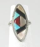 vintage sterling silver cobblestone inlay ring