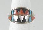 vintage sterling silver inlay ring size 5 1/2
