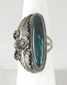 vintage sterling silver and Paua Shell Shadowbox ring size 10