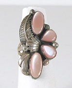 vintage sterling silver and Pink Shell  ring size 8 1/4