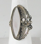 vintage sterling silver and Mother of Pearl  ring size 10 1/2