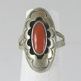 vintage sterling silver and Coral  ring size 5 3/4