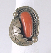 vintage sterling silver and Coral ring size 7 1/2