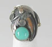 vintage sterling silver and Turquoise Claw Ring size 5 1/4