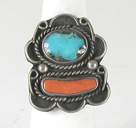 vintage sterling silver Turquoise Cluster ring size 8