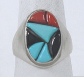 vintage sterling silver cobblestone inlay ring size 11 1/4