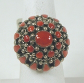 Authentic Native American vintage Zuni sterling silver Coral Cluster ring