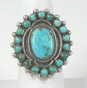 vintage sterling silver and Turquoise ring size 10