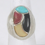 vintage sterling silver inlay ring size 10 1/4