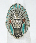 vintage sterling silver and chip inlay Indian Chief ring size 9