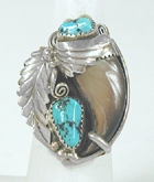 Authentic Native American vintage Navajo sterling silver Turquoise Claw ring size 9 1/2