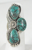 Authentic Native American vintage sterling silver and Turquoise ring size 8 3/4 by Navajo artist Mark Yazzie