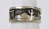 Authentic Native American vintage sterling silver storyteller ring size 8 by Navajo artist Offina Pino