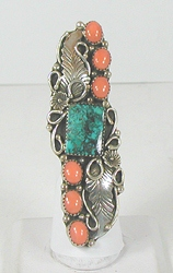 vintage sterling silver and Turquoise long ring size 7 1/2