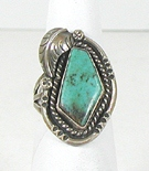vintage turquoise sterling silver shadowbox ring size 7 3/4
