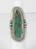 vintage sterling silver and Turquoise ring size 6 1/2 by Navajo Bill Nexicano