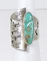 vintage sterling silver and Turquoise ring adjustable size 3 to 8 1/4