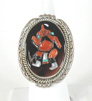 vintage Zuni sterling silver and stone inlay Mudhead Kachina ring size 9 1/2 by Augustine and Rosalie Pinto