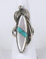 vintage sterling silver, mother of pearl and turquoise ring size 9 1/2