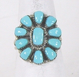 vintage Zuni sterling silver and Turquoise Cluster ring size 9 1/2 by Angela Natachu