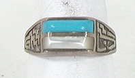 vintage sterling silver mother of pearl and Turquoise ring size 10 3/4