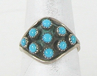 vintage Zuni sterling silver and Turquoise Cluster ring size 7 1/2