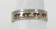 vintage sterling silver and Gold Overlay Bear Ring size 9 1/2