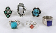 Lot of six Sterling Silver Rings size 7 to 7 7/8