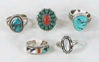 Lot of Five Sterling Silver Rings size 7 to 7 7/8