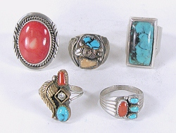 Lot of Five Sterling Silver Rings size 10  to 10 7/8