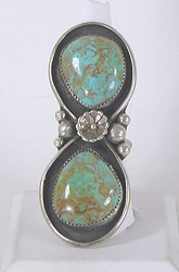 vintage sterling silver and giant Turquoise ring size 11 1/4